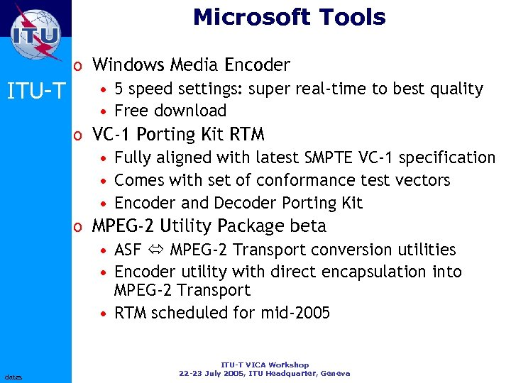 Microsoft Tools ITU-T dates o Windows Media Encoder • 5 speed settings: super real-time