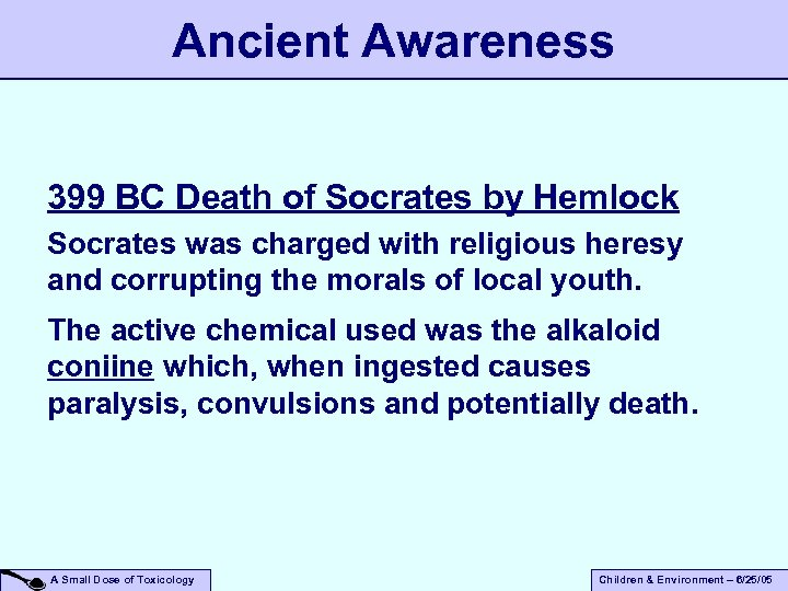 Ancient Awareness 399 BC Death of Socrates by Hemlock Socrates was charged with religious