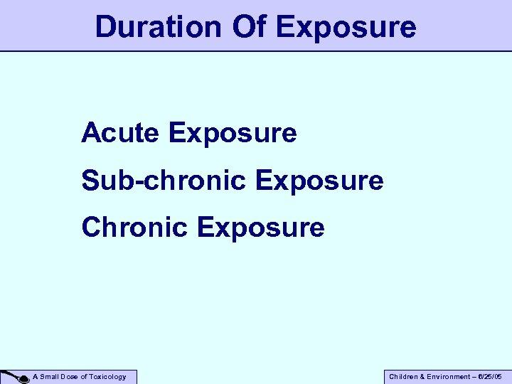 Duration Of Exposure Acute Exposure Sub-chronic Exposure Chronic Exposure A Small Dose of Toxicology