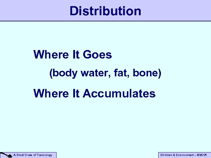 Distribution Where It Goes (body water, fat, bone) Where It Accumulates A Small Dose