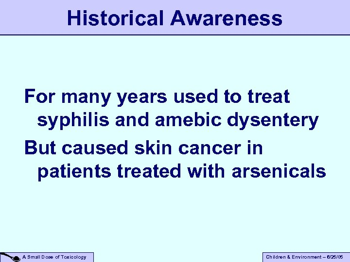 Historical Awareness For many years used to treat syphilis and amebic dysentery But caused