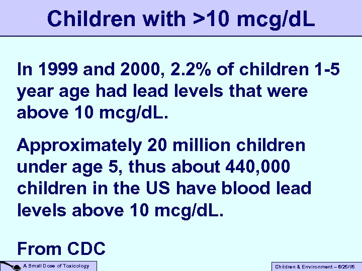Children with >10 mcg/d. L In 1999 and 2000, 2. 2% of children 1