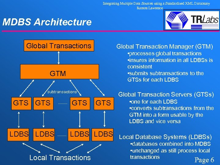 Integrating Multiple Data Sources using a Standardized XML Dictionary Ramon Lawrence MDBS Architecture Global