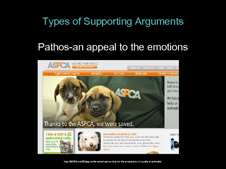 Types of Supporting Arguments Pathos-an appeal to the emotions http: //46664. net/56/aspca-the-american-society-for-the-prevention-of-cruelty-to-animals/