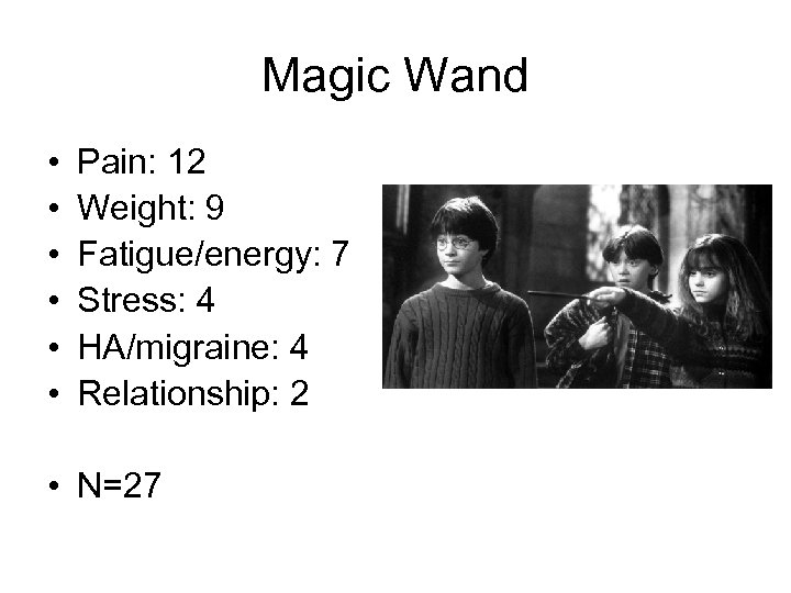 Magic Wand • • • Pain: 12 Weight: 9 Fatigue/energy: 7 Stress: 4 HA/migraine: