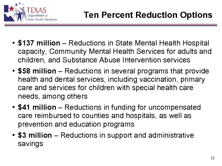 Ten Percent Reduction Options • $137 million – Reductions in State Mental Health Hospital