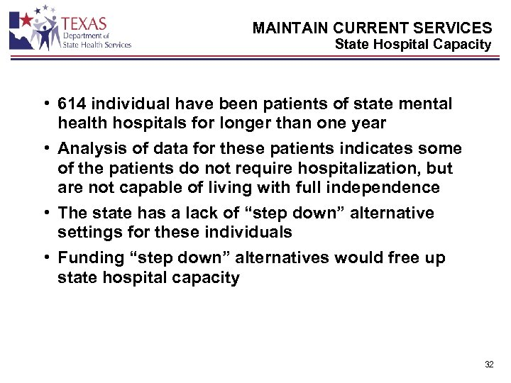 MAINTAIN CURRENT SERVICES State Hospital Capacity • 614 individual have been patients of state