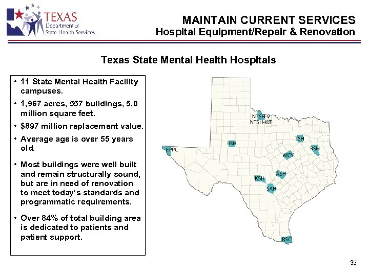 MAINTAIN CURRENT SERVICES Hospital Equipment/Repair & Renovation Texas State Mental Health Hospitals • 11