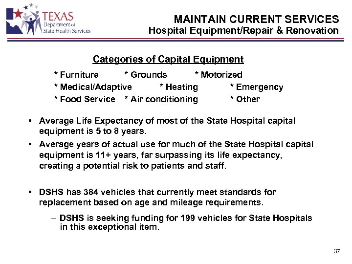MAINTAIN CURRENT SERVICES Hospital Equipment/Repair & Renovation Categories of Capital Equipment * Furniture *