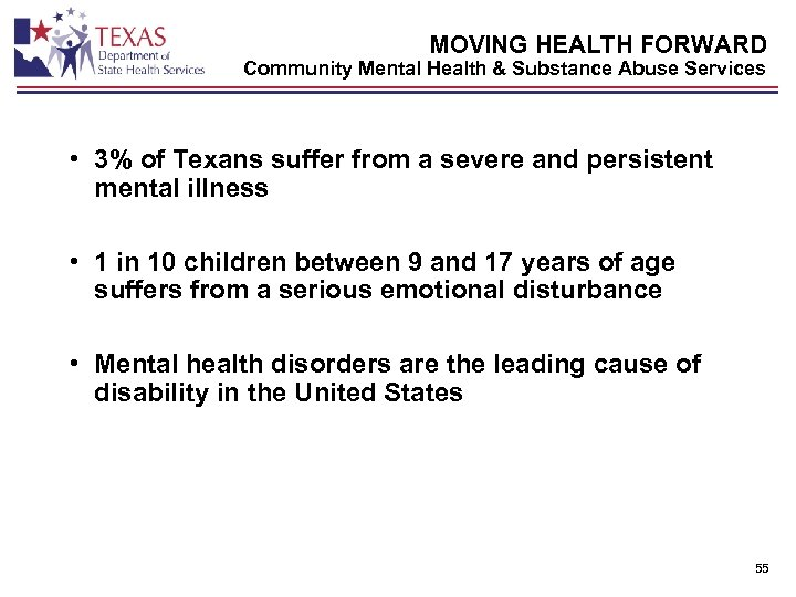 MOVING HEALTH FORWARD Community Mental Health & Substance Abuse Services • 3% of Texans