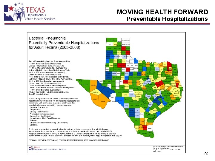 MOVING HEALTH FORWARD Preventable Hospitalizations 72