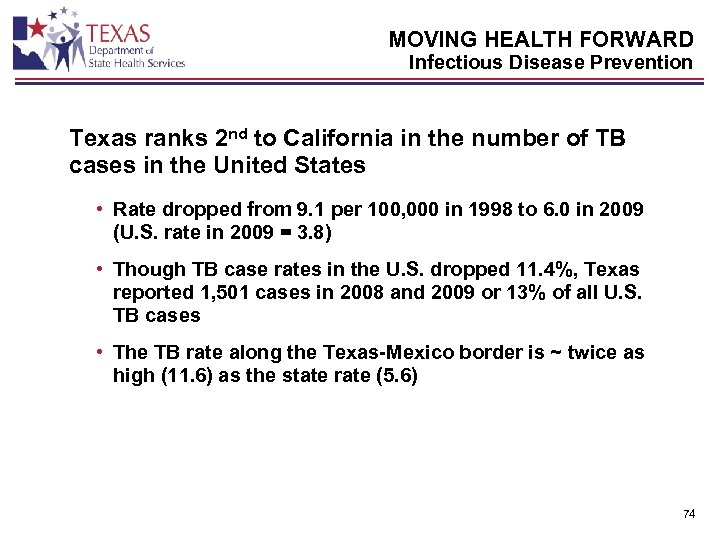 MOVING HEALTH FORWARD Infectious Disease Prevention Texas ranks 2 nd to California in the