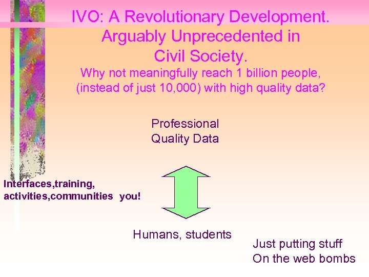 IVO: A Revolutionary Development. Arguably Unprecedented in Civil Society. Why not meaningfully reach 1