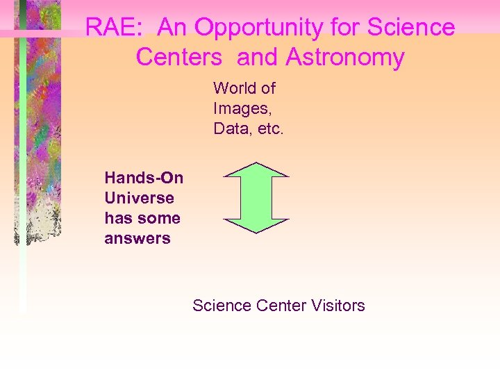 RAE: An Opportunity for Science Centers and Astronomy World of Images, Data, etc. Hands-On