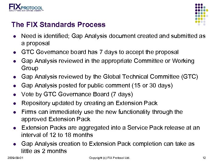 The FIX Standards Process l l l l l Need is identified; Gap Analysis
