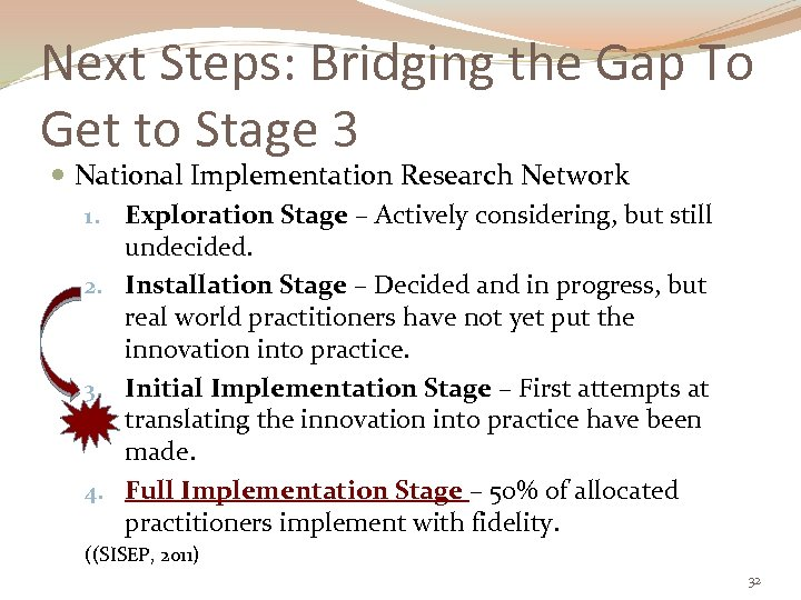 Next Steps: Bridging the Gap To Get to Stage 3 National Implementation Research Network