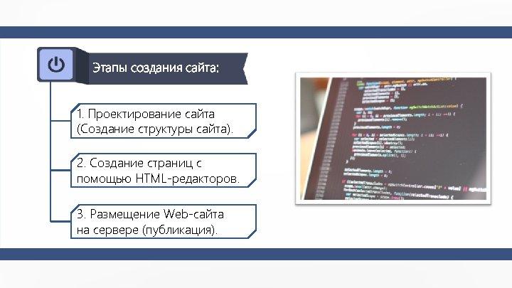 Этапы создания сайта: 1. Проектирование сайта (Создание структуры сайта). 2. Создание страниц с помощью