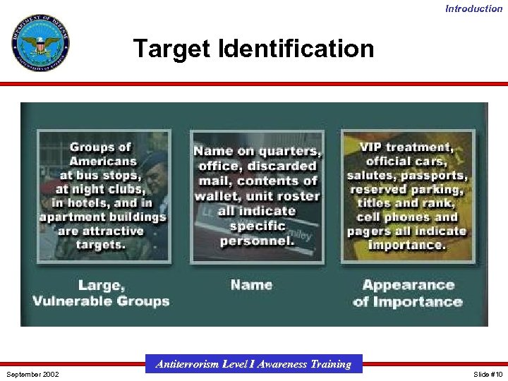 Introduction Target Identification September 2002 Antiterrorism Level I Awareness Training Slide #10