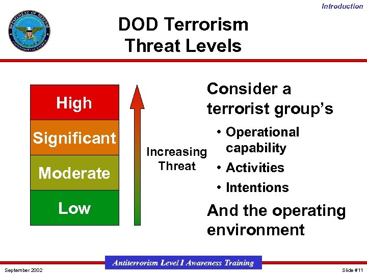 Introduction DOD Terrorism Threat Levels Consider a terrorist group's High Significant Moderate Low September