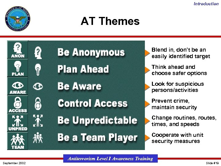Introduction AT Themes Blend in, don't be an easily identified target Think ahead and