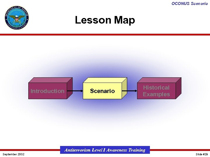 OCONUS Scenario Lesson Map Introduction September 2002 Scenario Historical Examples Antiterrorism Level I Awareness