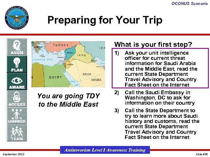 OCONUS Scenario Preparing for Your Trip What is your first step? 1) You are