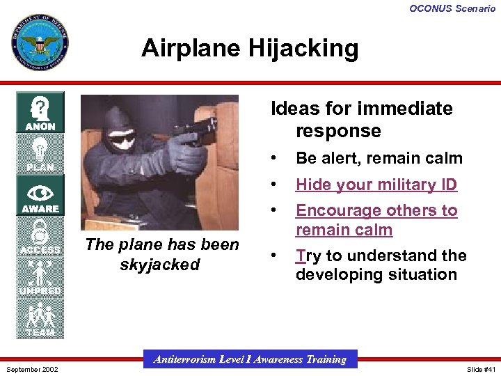 OCONUS Scenario Airplane Hijacking Ideas for immediate response • • September 2002 Hide your