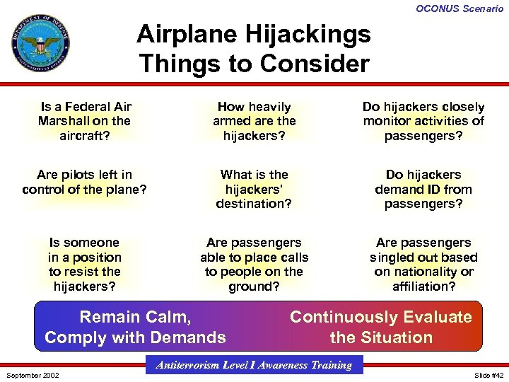 OCONUS Scenario Airplane Hijackings Things to Consider Is a Federal Air Marshall on the