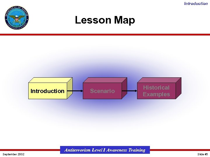 Introduction Lesson Map Introduction September 2002 Scenario Historical Examples Antiterrorism Level I Awareness Training