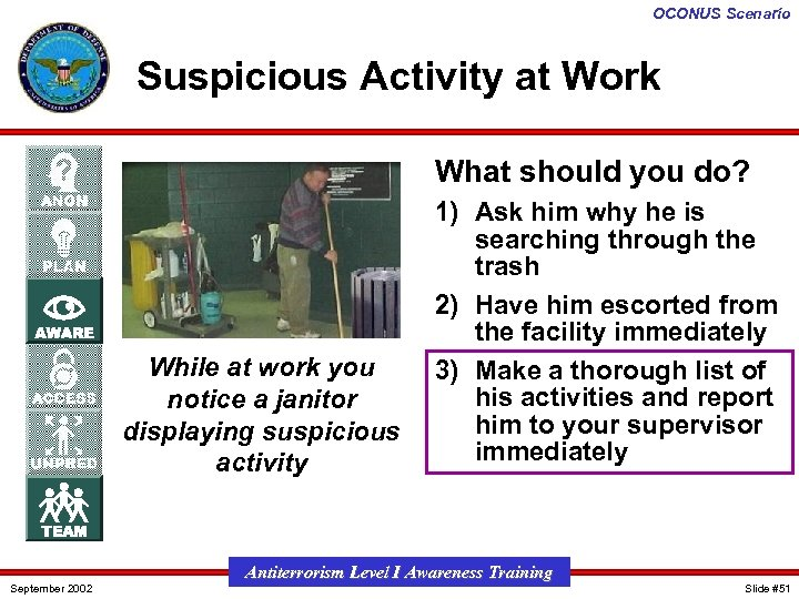OCONUS Scenario Suspicious Activity at Work What should you do? While at work you