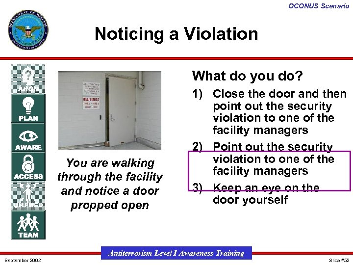 OCONUS Scenario Noticing a Violation What do you do? You are walking through the
