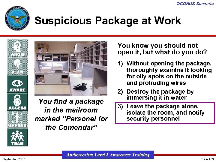 OCONUS Scenario Suspicious Package at Work You know you should not open it, but