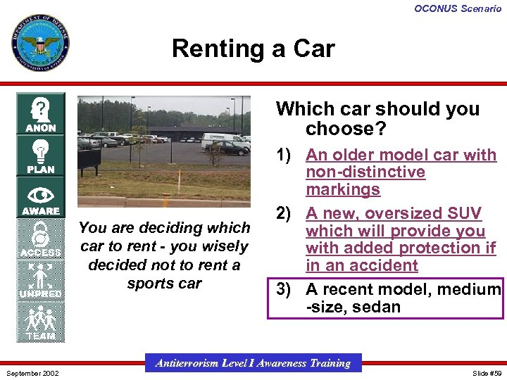 OCONUS Scenario Renting a Car Which car should you choose? You are deciding which