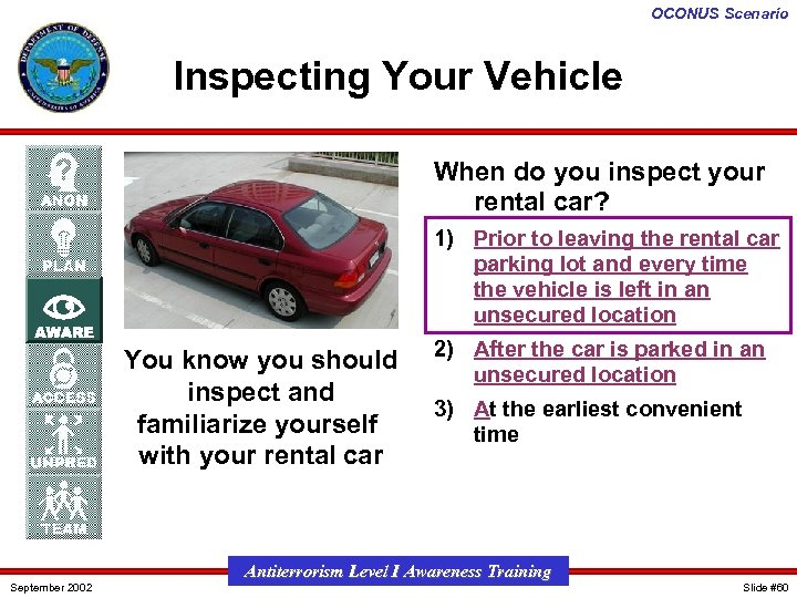 OCONUS Scenario Inspecting Your Vehicle When do you inspect your rental car? 1) Prior