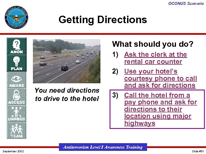 OCONUS Scenario Getting Directions What should you do? You need directions to drive to