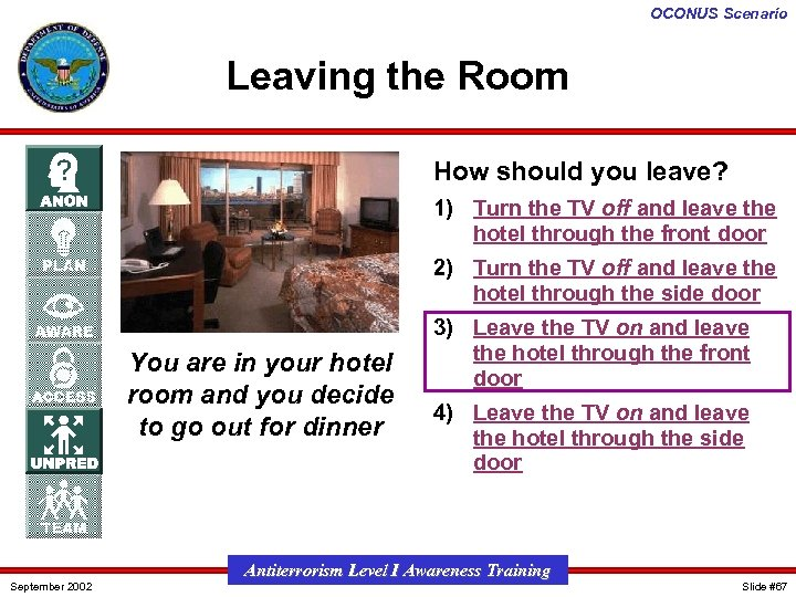 OCONUS Scenario Leaving the Room How should you leave? 1) Turn the TV off