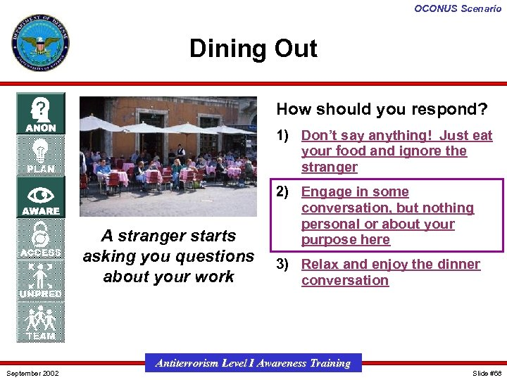 OCONUS Scenario Dining Out How should you respond? 1) Don't say anything! Just eat