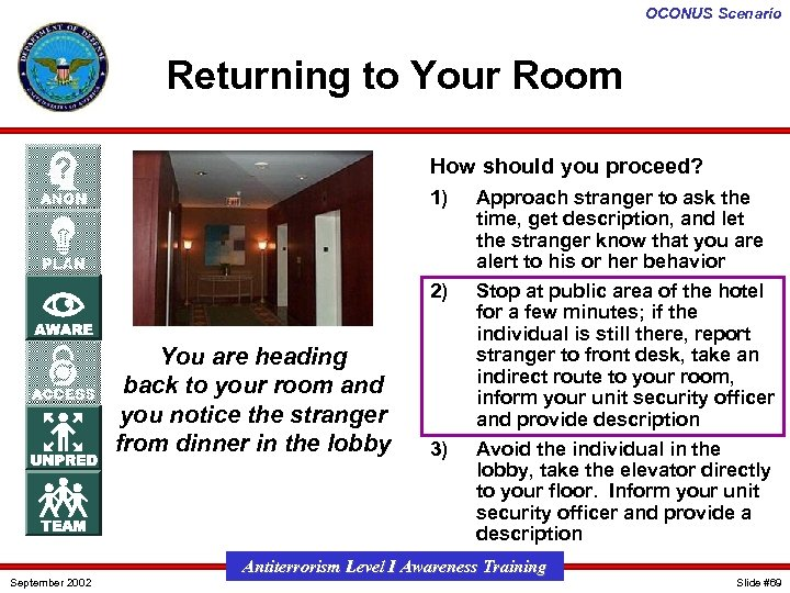 OCONUS Scenario Returning to Your Room How should you proceed? 1) 2) You are