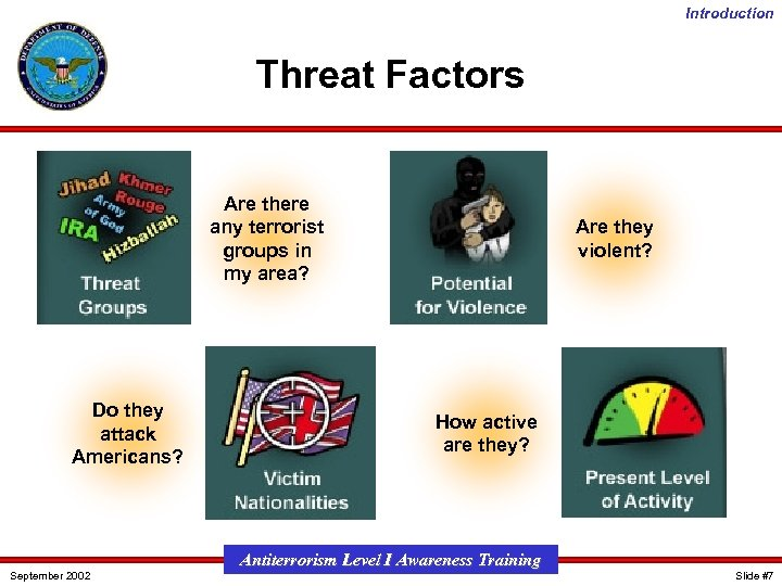 Introduction Threat Factors Are there any terrorist groups in my area? Do they attack
