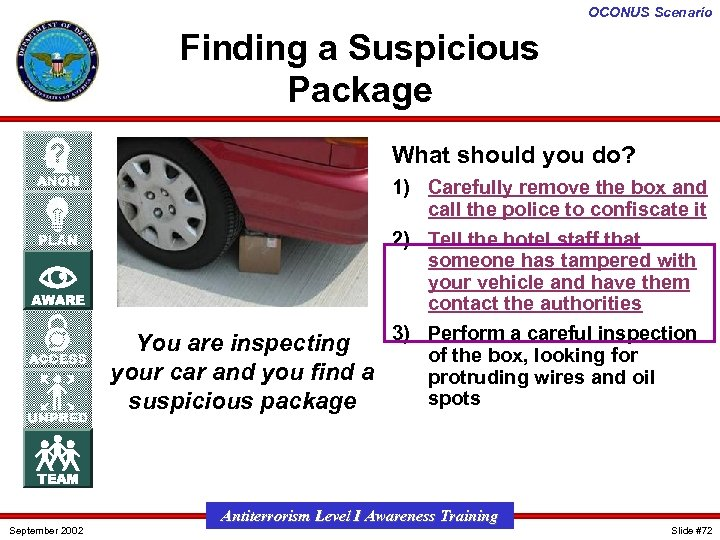 OCONUS Scenario Finding a Suspicious Package What should you do? 1) Carefully remove the