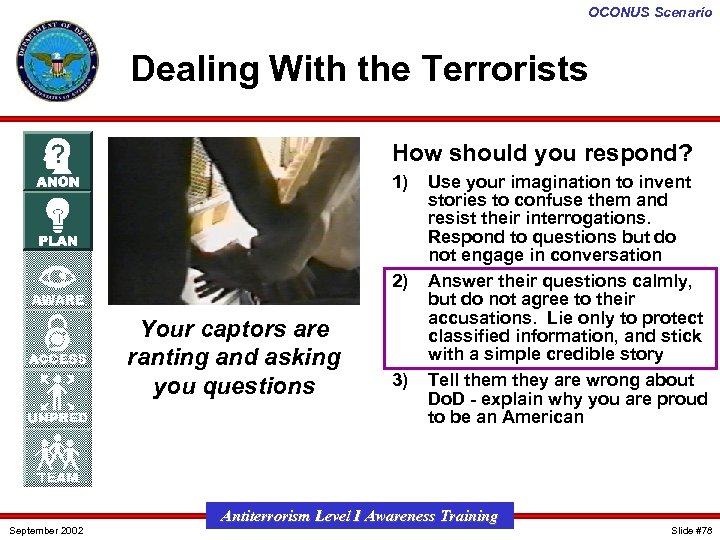 OCONUS Scenario Dealing With the Terrorists How should you respond? 1) 2) Your captors
