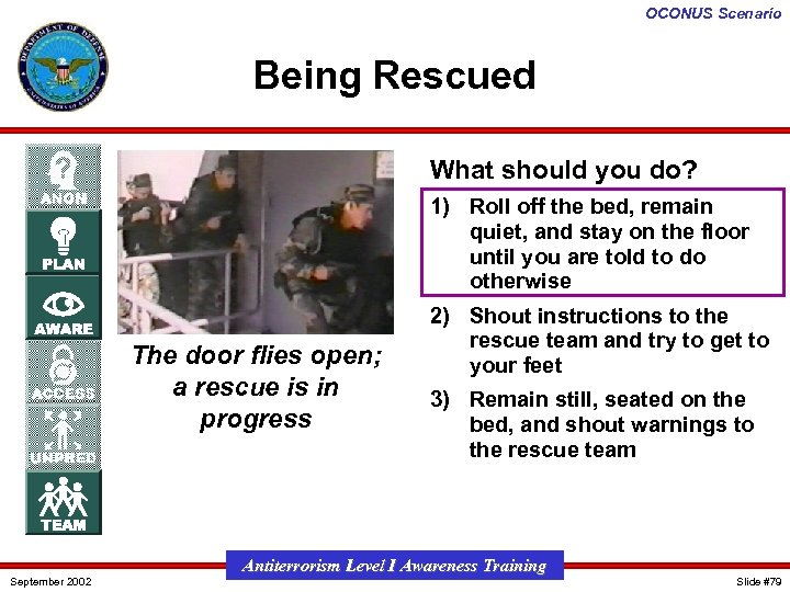 OCONUS Scenario Being Rescued What should you do? 1) Roll off the bed, remain