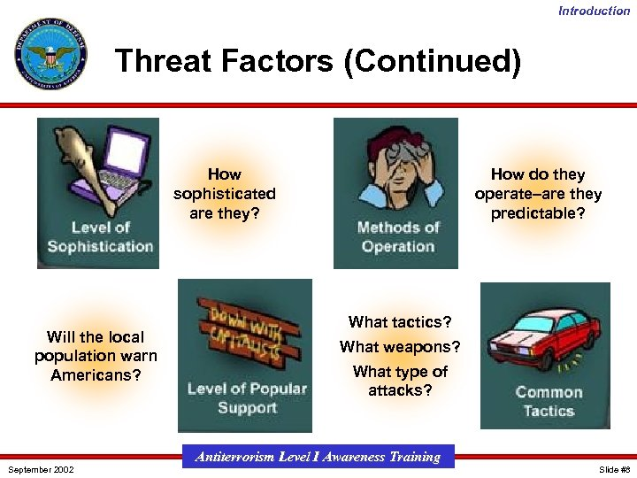 Introduction Threat Factors (Continued) How sophisticated are they? Will the local population warn Americans?