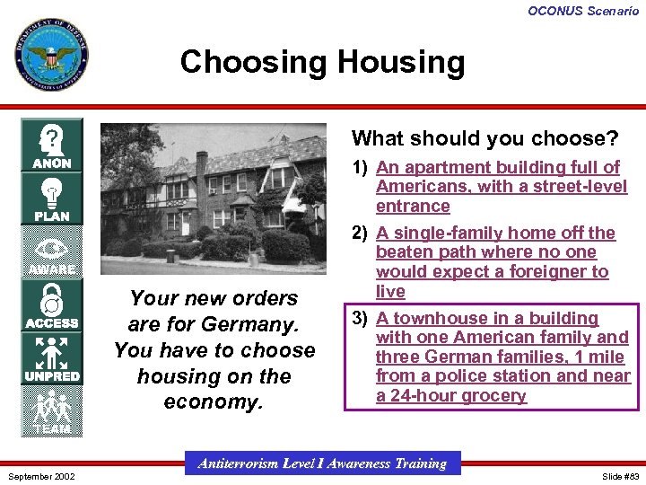 OCONUS Scenario Choosing Housing What should you choose? Your new orders are for Germany.