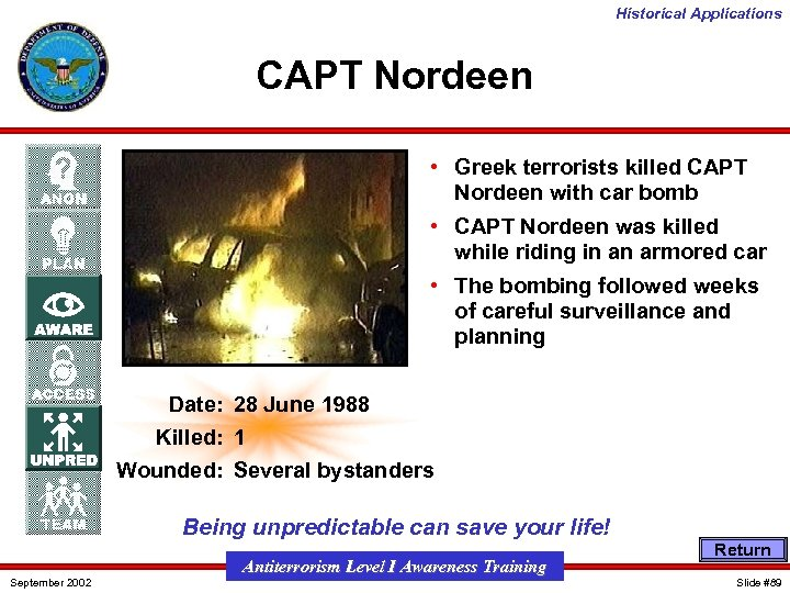 Historical Applications CAPT Nordeen • Greek terrorists killed CAPT Nordeen with car bomb •