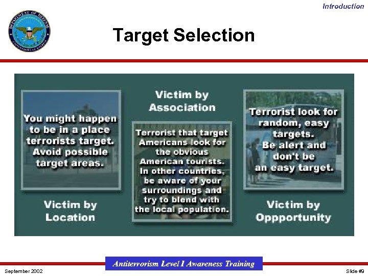 Introduction Target Selection September 2002 Antiterrorism Level I Awareness Training Slide #9