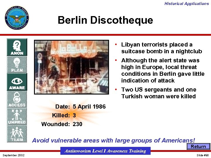 Historical Applications Berlin Discotheque • Libyan terrorists placed a suitcase bomb in a nightclub