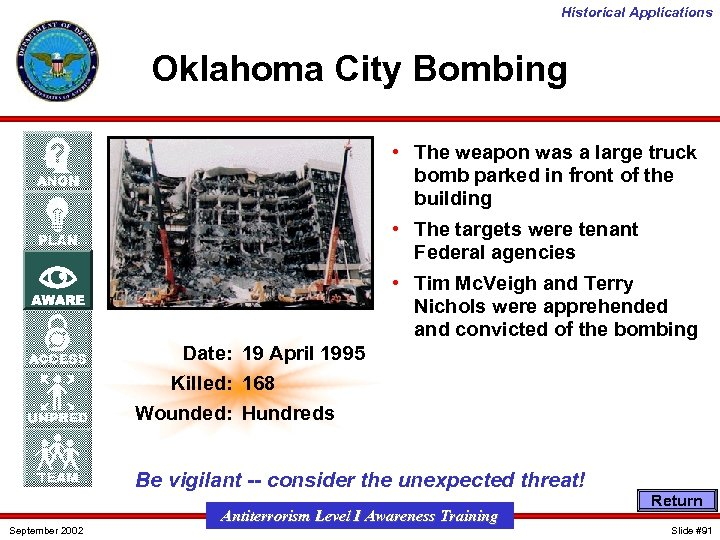 Historical Applications Oklahoma City Bombing • The weapon was a large truck bomb parked