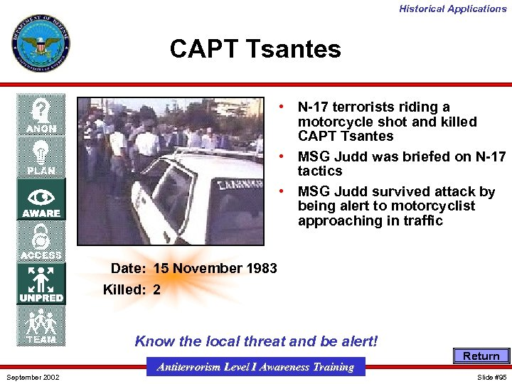 Historical Applications CAPT Tsantes • N-17 terrorists riding a motorcycle shot and killed CAPT