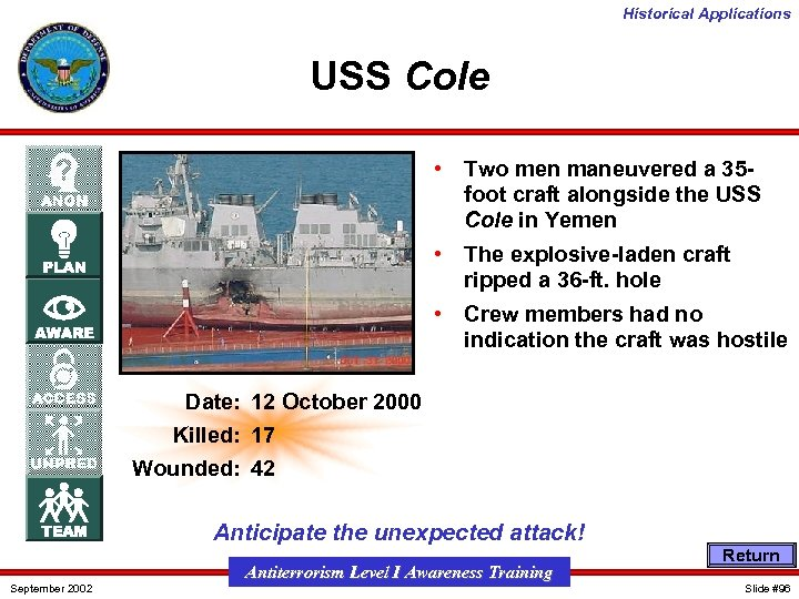 Historical Applications USS Cole • Two men maneuvered a 35 foot craft alongside the